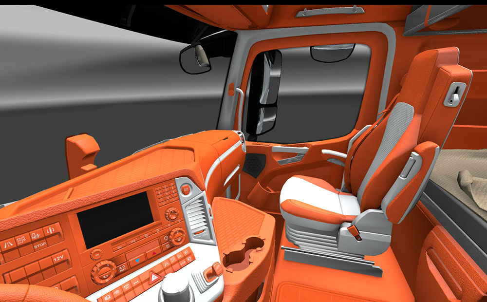 Мод интерьер Mercedes Actros MP4 Orange Interior v 1.20 Euro Truck Simulator 2