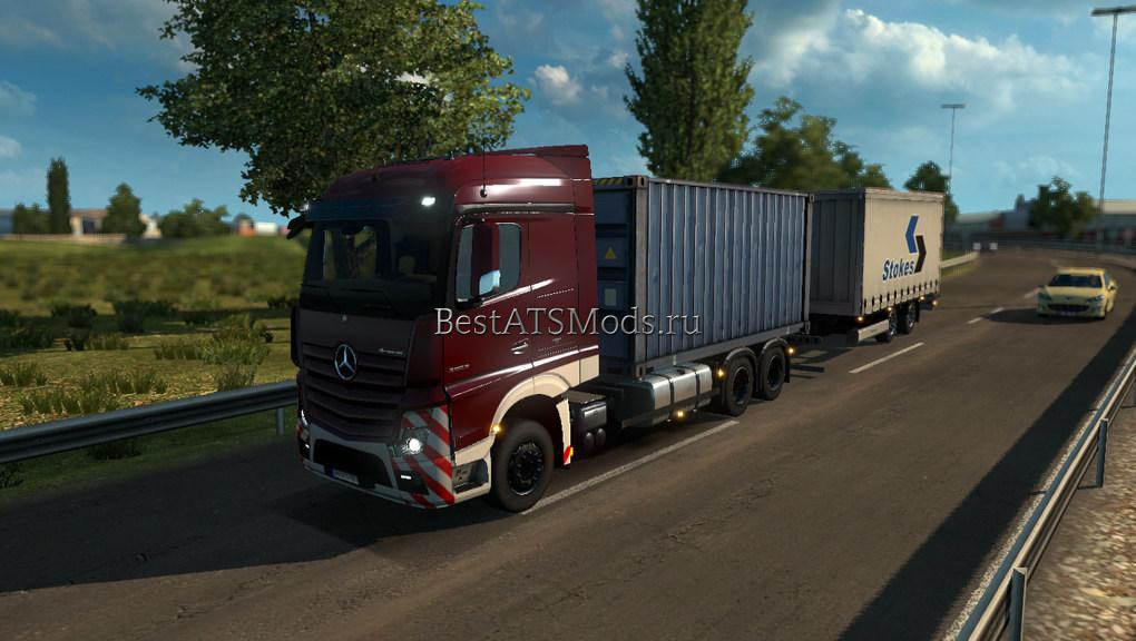 Мод грузовик Mercedes-Benz Actros MP4 RGD v.1.1 + Trailer Euro Truck Simulator 2