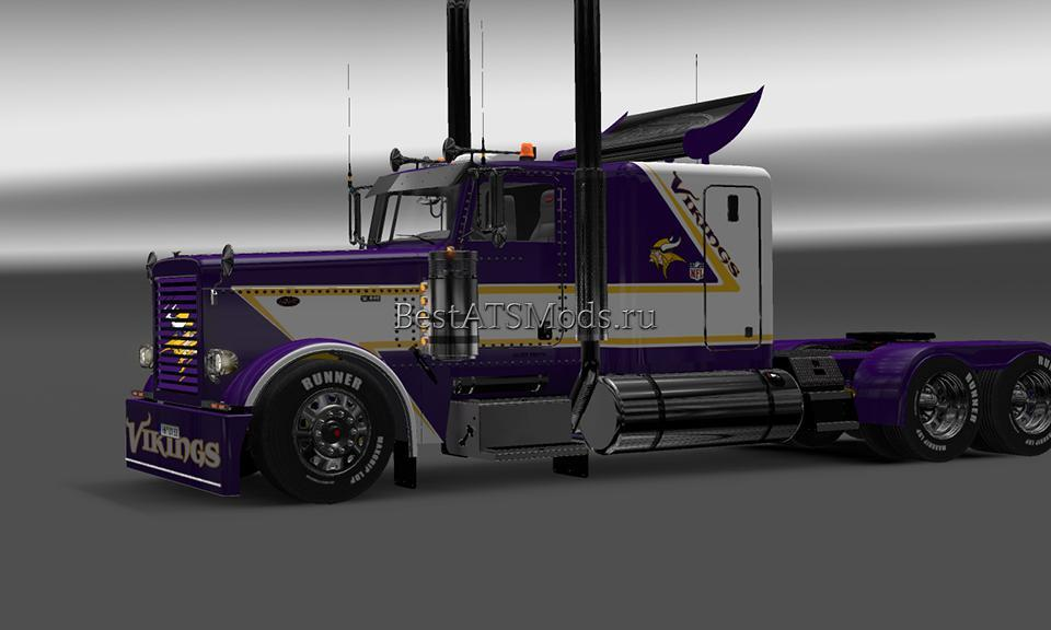 Мод скин MINESOTTA VIKINGS MODIFIED PETERBUILT 389 Euro Truck Simulator 2