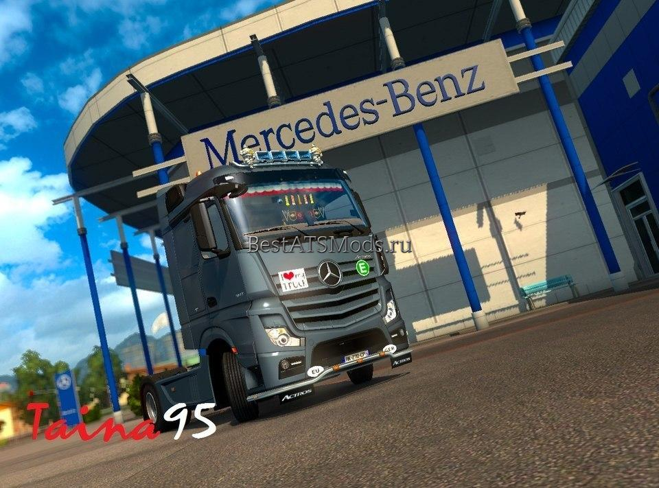 Мод грузовик Mercedes Actros Mp4 V1.6 + Cabin Accessories DLC Euro Truck Simulator 2