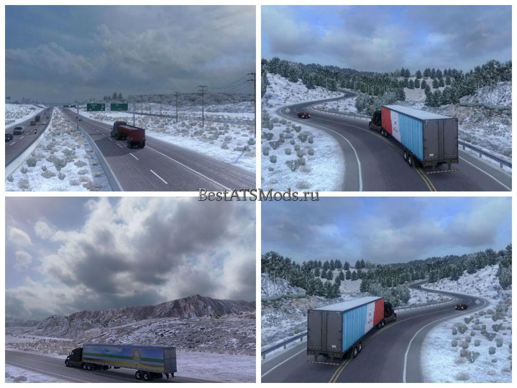 Мод Зимняя Погода / Frosty Winter Weather Mod v1.0 American Truck Simulator