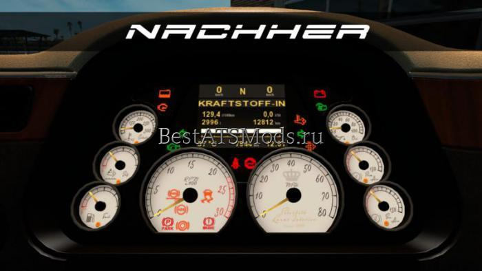 Мод New White Luxury Dashboard by Peterbilt 579 v1.0 American Truck Simulator