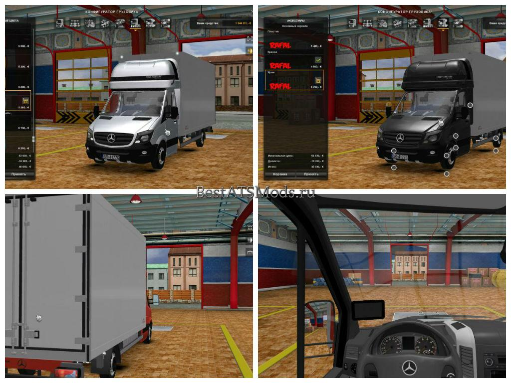 Мод грузовик Mercedes Benz Sprinter 2014 Izoterma Improved Euro Truck Simulator 2