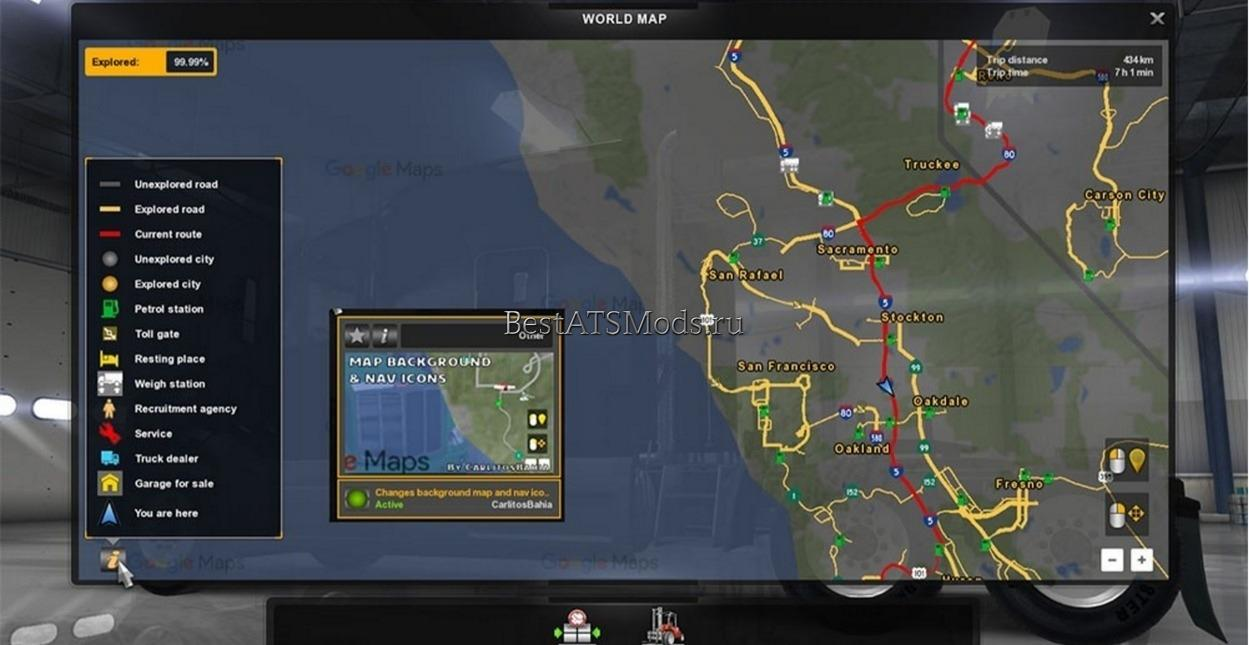 Мод Background map and nav icons map, gps and route advisor American Truck Simulator